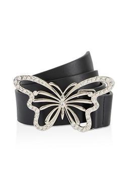 Butterfly Buckle Faux Leather Belt - 3128061595450