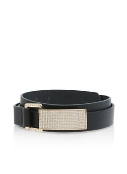 Rhinestone Buckle Faux Leather Belt - 3128073330837
