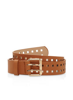 Laser Cut Faux Leather Belt - 3128073331923