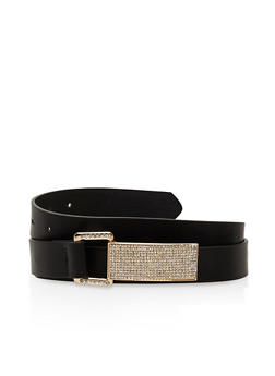 Plus Size Rhinestone Buckle Faux Leather Belt - 3128073337308