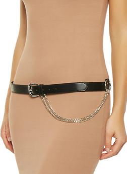 Chain Detail Skinny Belt - 3128073338103