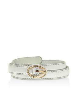 Faux Leather Skinny Belt - 3128073339004