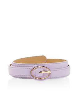 Faux Leather Skinny Belt - 3128073339004