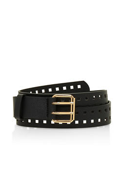 Plus Size Cut Out Faux Leather Belt - 3128073339213