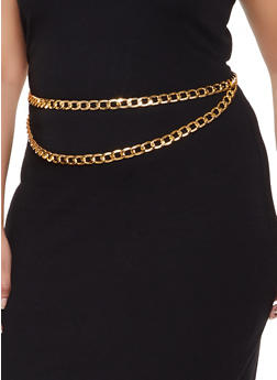 Plus Size Metallic Curb Chain Belt - 3128074391564