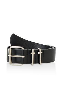 Metallic Cross Detail Faux Leather Belt - 3128074392047