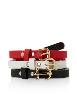 Set of 3 Faux Leather Skinny Belts - 3128074392178