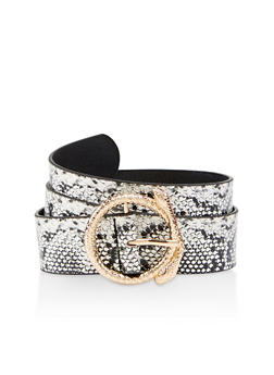 Plus Size Snake Print Faux Leather Belt - 3128074392211