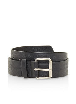Plus Size Embossed Faux Leather Belt - 3128074392474