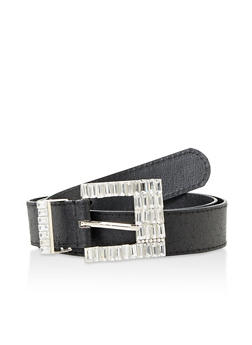Jeweled Buckle Faux Leather Belt - 3128074392711