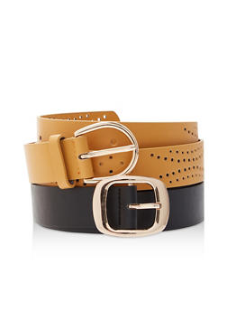 Plus Size Perforated and Solid Faux Leather Belt Duo - 3128074392760
