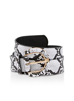 Faux Leather Snake Print Belt - 3128074392848