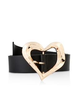 Plus Size Heart Buckle Belt - 3128074392867