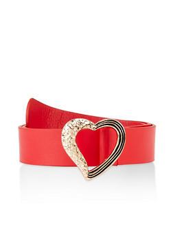 Textured Heart Buckle Belt - 3128074392874