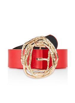 Hammered Metallic Buckle Belt - 3128074392876