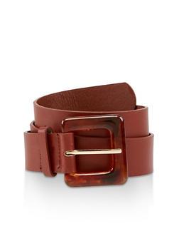 Plus Size Tortoise Buckle Faux Leather Belt - 3128074393331