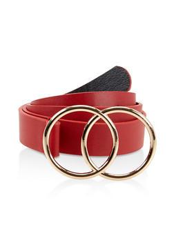 Plus Size Double Circle Buckle Belt - 3128074394196
