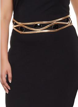 Plus Size Jeweled Metallic Waist Belt - 3128074394471