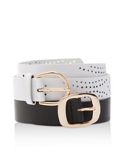 Set of 2 Perforated Faux Leather Belts - 3128074396077