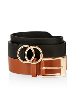 Faux Leather Belt Duo - 3128074397772