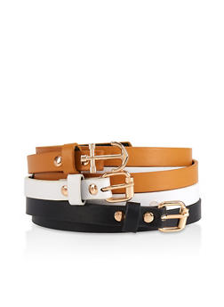 Anchor Buckle Skinny Belt Trio - 3128074397888