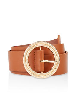 Circular Hammered Metallic Buckle Belt - 3128074398658