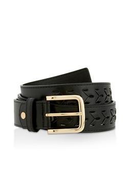Interlock Braided Faux Leather Belt - 3128074500004