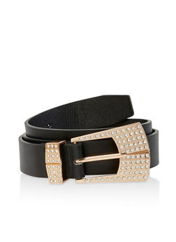 Plus Size Faux Leather Rhinestone Buckle Belt - 3128074500010
