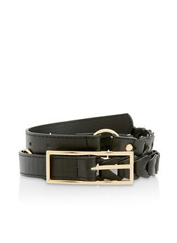 Looped Faux Leather Belt - 3128074500029