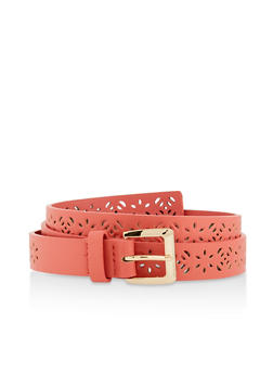 Floral Perforated Faux Leather Belt - 3128074500050