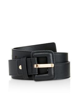 Faux Leather Buckle Belt - 3128074500150