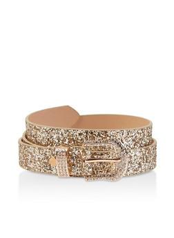 Rhinestone Buckle Glitter Belt - 3128074500415