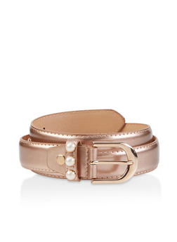 Faux Pearl Buckle Belt - 3128074500427