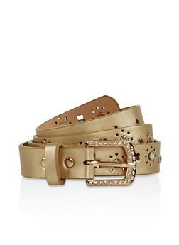 Rhinestone Studded Faux Leather Belt - 3128074500430