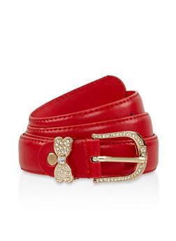 Rhinestone Butterfly Loop Faux Leather Belt - 3128074500433