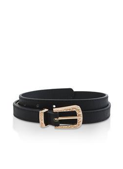 Faux Leather Skinny Belt - 3128074500738