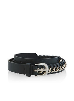 Chain Woven Faux Leather Belt - 3128074500810