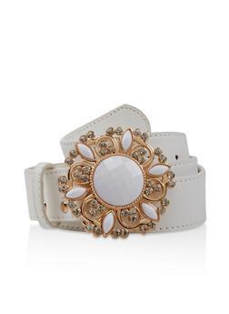 Plus Size Jeweled Buckle Faux Leather Belt - 3128074500827