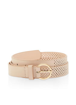 Laser Cut Faux Leather Belt - 3128074500831