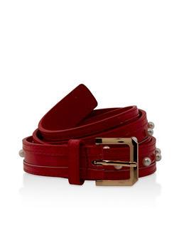 Faux Pearl Studded Belt - 3128074500867