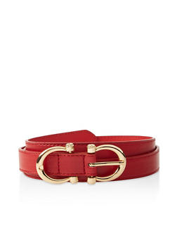 Double Horseshoe Buckle Faux Leather Belt - 3128074500870