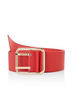 Plus Size Faux Saffiano Leather Belt - 3128074500877