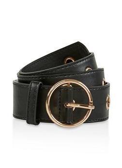 Grommet Faux Leather Belt - 3128074500883
