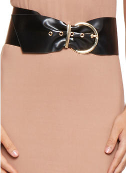 Wide Faux Leather Waist Belt - 3128074500895