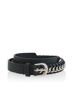 Plus Size Chain Woven Faux Leather Belt - 3128074501081
