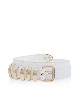 Plus Size Metallic Loop Skinny Belt - 3128074501106