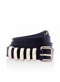 Metallic Loop Faux Leather Skinny Belt - 3128074501108