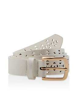 Plus Size Laser Cut Shimmer Faux Leather Belt - 3128074501197