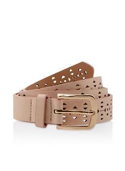 Plus Size Laser Cut Shimmer Faux Leather Belt - 3128074501197