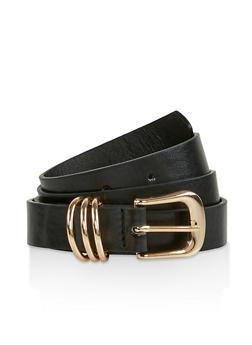 Metallic Loop Detail Faux Leather Belt - 3128074501201